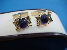 AMAZING 14K YELLOW GOLD NUGGET CUFFLINKS WITH GENUINE CABOCHON AMETHYST 10.3 GR