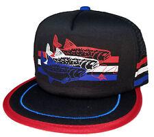 Trout Black 3 Striped  Snapback Mesh Trucker Hat Cap Fly Fishing