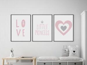 Set of 3 Little Princess Love Heart Pink Grey Prints Nursery Girls Kids Wall Art