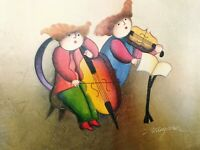 """Musical Children J Roybal Artwork Oil Painting 12"""" x 16"""" On Stretched Canvas 4"""