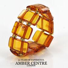 Fiery Orange GERMAN BALTIC AMBER Handmade Elastic Ring RB030 RRP £35!!!
