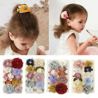 Cute Kids Hair Accessories Baby Girl Elastic Hair Bands Fabric Flower Hair Clips