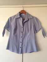 Marks And Spencer's Blouse Blue And White Fine Stripe Shirt Top Size 8 <K2713