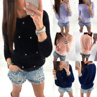 Womens Fluffy Sweater Jumper Ladies Long Sleeve Faux Pearl Pullover Top Surprise