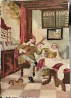 """ANTIQUE HAND MADE TAPESTRY NEEDLEPOINT 14""""x20"""" Musical Dog Woman Gentleman Room"""