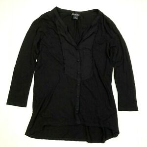 lucky brand long sleeve tuxedo top blouse black size xs