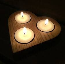 Oak Heart 3 Tea Light Candle Holder - UK Handmade wooden wood
