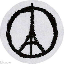 """Eiffel Tower Peace Embroidered Patch 7cm Dia (2 3/4"""" Dia)"""