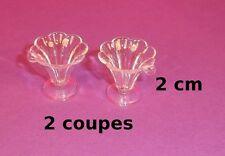 2 coupes à glace miniature, vitrine,maison de poupée, création bijoux,fimo P2