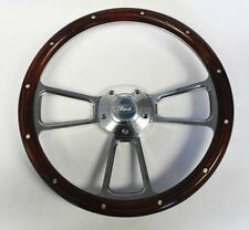 """Bronco F100 F250 F350 1967 Steering Wheel Real Wood and Billet 14"""" Ford Cap"""