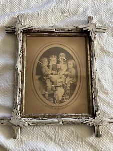 """Antique Picture Children Dog Wood Vintage Picture Frame """"Drilling an Old Soldier"""