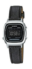 Casio LA670WL-1B Women's Black Leather Band Vintage Silver Tone Digital Watch