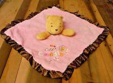 Disney Pink Winnie The Pooh Lovey Rattle Cute Cuddly Security Blanket Brown