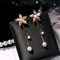 Fashion Women Crystal Flower Pearl Earrings Ear Stud Dangle Earring Jewelry