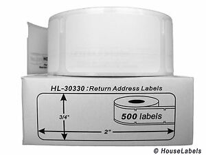 """DYMO 30330 Direct Thermal Return Address Labels (3/4"""" x 2"""") - (1) Roll of 500"""