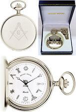 Sale - Mount Royal Masonic Hunter Pocket Watch CP Swiss Quartz Free Eng 411cq