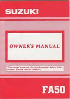 1991 SUZUKI MOTORCYCLE FA50 OWNERS MANUAL NEW