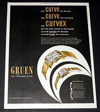 1948 OLD MAGAZINE PRINT AD, GRUEN CURVEX PRECISION WATCHES, CURVED FOR BEAUTY!