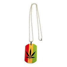 """Weed Of Wisdom Irie Rasta Rastafari Canabas Leaf Dog Tag Necklace Marley 24"""""""