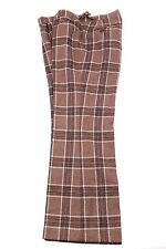 Vintage Bespoke Plaid 100% Wool Flat Front Dress Men's Pants Sz 34X29