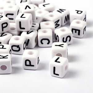 20 Letter Beads Alphabet Acrylic Assorted Lot BULK Wholesale White 10mm Large