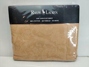 Ralph Lauren Avery Cafe Beige Paisley Floral 2 Tone Twin Flat Sheet 100% Cotton