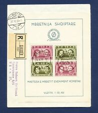 Albania - # 289 - S/S on Registered cover to Austria - Royal Wedding - 1938