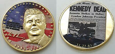 JFK Gold Coin Autographed John F Kennedy 1917 1963 Car Great Man Peace Quote 3D