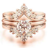 Gorgeous Women 18K Rose Gold Plated Morganite Ring Set Wedding Jewelry Size 6-10