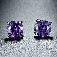 Genuine Purple Amethyst Gemstone Silver Stud Earrings Round - February