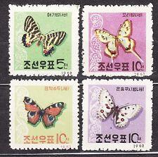 KOREA 1962 mint(*) SC#390/93 set,  Butterflies.