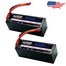 2x HRB 6000mAh 4S 14.8V Hardcase 50C 100C LiPo Battery for RC Truck Buggy Car US