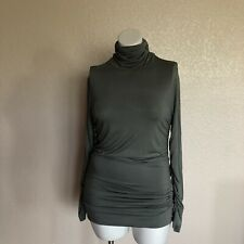 Soft Surroundings Great Shape Turtleneck Ruched tunic top Stretch L Green I046