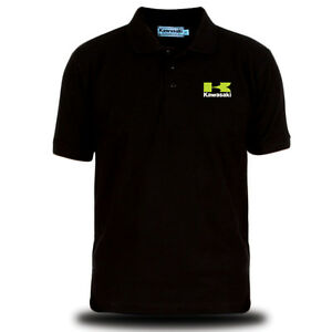 Genuine Official Kawasaki Logo Racing Team Black Men Polo Tee T-Shirt 11161004BK