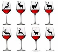 8 x Assorted Stag Deer Vinyl Decal Wine Glass stickers