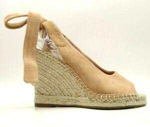 Joie Tan Leather Tie Slingback Espadrille Wedge Heel Shoes Women's 38 / 8