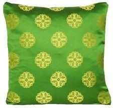 "Green Cushion Cover Designers Guild Satin Silk Fabric Yellow Woven Pattern 16"""