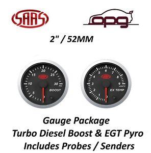 SAAS Streetline Series Diesel EGT & Boost 30 PSI 52mm Gauge Combo Black Face