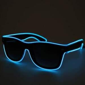 Blue Light up flashing Festival Part Glasses Black Lens Bright Neon LED Shades