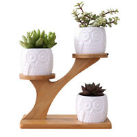 Bamboo 3 Tier Plant Stand Planter Holder Rack Shelf with Flower Pot Decorative