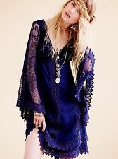 NWT! Free People XS Crochet Mesh Lace Tiered Hem Dress Bell Sleeve Nightingale
