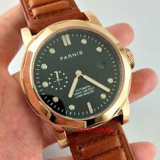 Parnis 44mm Sapphire Glass Gold Case Seagull 2555 Automatic Date Wrist Watch