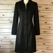 KAY UNGER Light Weight Dress COAT Black w White Seam Detailing Career Size 6 M13