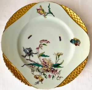 RARE c1886 H&Co HAVILAND LIMOGES GOLD MEADOW VISITORS PLATE, GILMAN COLLAMORE