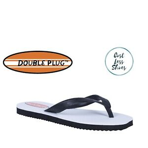 Original Double Plug Thongs Mens Pluggers Black White Flip Flops Plugger