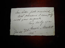 Original Hand Written Note From Actress/ Confederate Sympathizer Maggie Mitchell