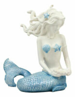 Nautical Ocean Goddess Pretty Mermaid With Blue Tail Holding Pearl Shell Statue