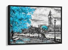 LONDON BIG BEN TEAL TURQUOISE -FLOAT EFFECT CANVAS WALL ART PIC PRINT- GREY