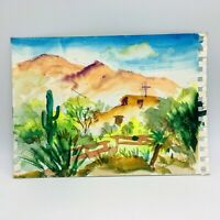 Original Watercolor Painting by MURRAY KESHNER Desert Mountain Landscape Saguaro
