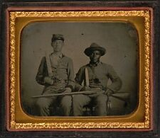 Photo Civil War Confederate Soldier and Family Slave With Bowie Knives Revolvers